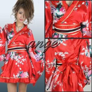 CPD1501-001/キャバドレス/ひらひら サテン和柄 ミニ花魁着物ドレス