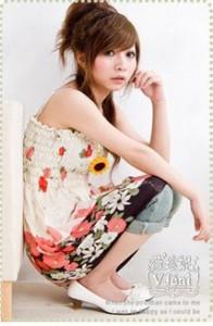 【予約】フリル小花柄チュニックミニワンピースベアトップギャザー青ピンク緑MLXL sh2-fq508