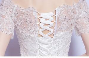 極めて豪華ウェディングドレス可愛い二次会ロングドレスウエディングドレスエンパイアラインオフショルダーレース姫系セクシー