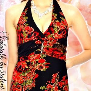 【M&Lサイズ】大人気Aラインフレアロング★ラメ入りの和中華★ゆったりボディライン隠し♪大きいサイズOK【キャバドレス/ロングドレス】