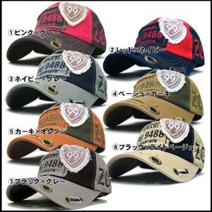 帽子 メンズ 帽子 キャップ キャップ 帽子 コットンキャップ 99 ハトメ ダメージ加工 ニューツートン