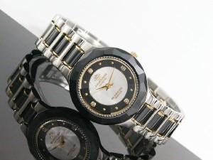 J.HARRISON ジョンハリソン セラミック 天然ダイヤモンド付 18K 金張りリューズ レディース JH-CCL001BS (24) 新品