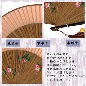 呉服屋さんの 婦人 女性用 最高級 絹 扇子 桐箱入り 6D-1