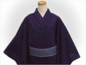 帯簡単 粋なメンズ男性刺子浴衣とワンタッチ結び角帯セット紫地格子大きいサイズLL