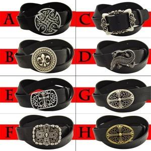 メンズ ベルト 牛革 選べる15種類の大きいバックル×6種類の本革ベルト 組合せ90通り レザーベルト 2点セット【送料無料】