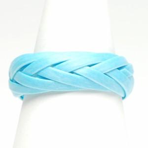ナテュラル素材 ウッド 編みこみ リング ブルー レディース メンズ 指輪 アクセサリー f-er854