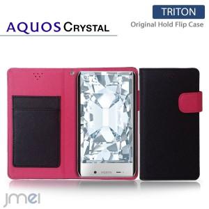 AQUOS CRYSTAL 305SH ケース/カバー JMEIオリジナルホールドフリップケース TRITON (ブラック) スマホケース/スマートフォン