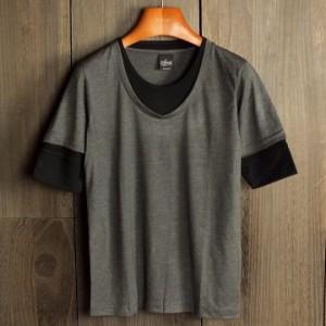 春夏カットソー フェイクレイヤード シンプル 五分袖 半袖 インナー 無地 5801t メール便対応商品