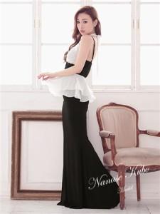 【Tika ティカ】ホルターぺプラムデザインシフォンロングドレスパーティードレスキャバドレス結婚式ドレス大きいサイズ有