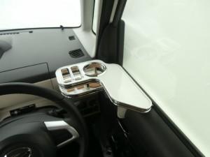 【売り切り! お買い得】ムーブキャンバス(16/09〜)サイドテーブル運転席側 ホワイト WHxフルメッキ