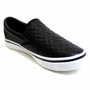 スリッポン スニーカー ブラック キルト キルティング 加工 PUレザー メンズ 靴 シューズ br7368-black