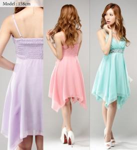 【今なら全品送料無料】【アウトレット】【4サイズ】イレギュラーヘムスカート シフォンワンピースドレス[キャバドレス 大きいサイズ ミ