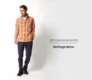 【送料無料】【Heritage Stone/ヘリテイジストーン】USED加工ビエラスタンド長袖シャツ/メンズ/シャツジャケット/ライトアウター◆4694