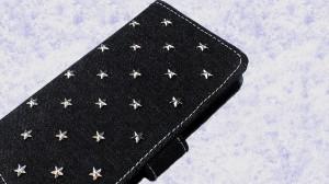 Xperia Z5 Compact SO-02H かわいい 可愛い星 スター 藍 デニム ラインストーン スタッズ 対応 手帳型 キラキラ 手帳ケース カバー