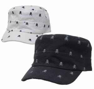 スカルドットプリントワークキャップ レールキャップ 帽子 メンズ レディース  exas