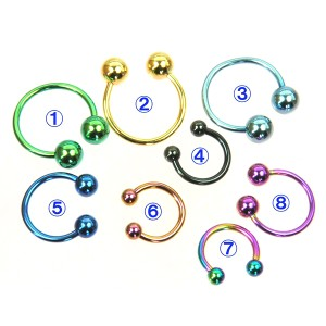 メール便 送料無料/ サーキュラーバーベル カラー 16GA(1.2mm)【ボディピアス/黒/ピンク/青/ゴールド/アクア/緑/レインボー】 ┃