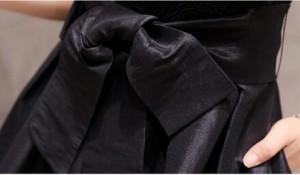 新作黒/赤ワンピース/ドレス/パーティー/結婚式/蝶結び/半袖レース/二次会 Aライン/フレアワンピ/パーティードレス演奏会/披露宴/花嫁