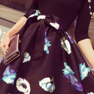 【Tipsy海外セレブStyle★大きいサイズ/L〜5Lの6サイズ】黒トップス+花柄フレアワンピース/ドレス(LL/3L/4L/5L)(06)