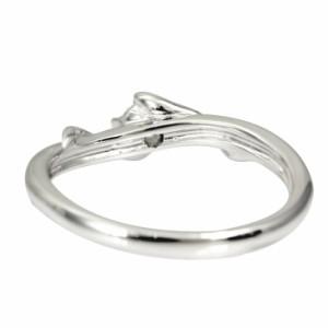 リング レディース 4本爪 ロジウムコーティング 1粒 キュービック ツイストライン シルバー 指輪 女性用 送料無料