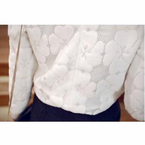 レディスファッションリボン花柄フワフワ長袖トップス♪ブラウス/カットソー/Tシャツ/ロンT/レディース