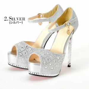 送料無料 [4サイズ S/M/L/LL] 14cmヒール チャーム付美脚ストラップオープントゥパンプス / 靴 厚底 2/13入荷