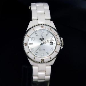 MUSK ムスク フルセラミック デイト付 メンズ 腕時計 ベルト調整具付き 【送料無料】MSF2502202 ホワイトxシルバー