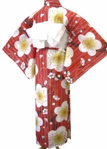 着物美人 送料無料 浴衣 ゆかた 女性用 綿紅梅 変り織り 白半幅帯 浴衣帯 飾り紐 3点セット 【 赤 レトロ梅 】D442831