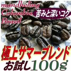 お試し100g【レギュラー珈琲豆】極上サマーブレンド/マンデリン配合/芳醇な香りとコク苦味/アイス・ラテにも