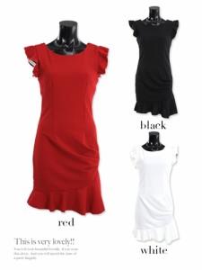 【Tika ティカ】エンジェルスリーブデザインタイトミニドレスワンピース/パーティードレス結婚式ドレスキャバドレス[S/M/L][赤/黒/白]