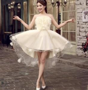 ... ミニドレス カラードレス パーティードレス 結婚式ワンピース 二次会 花嫁ドレス ベアトップ 白ドレス ...