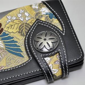 和柄メンズ二つ折り長財布本革牛革レザー 日本製高級金襴 札入れ小銭入れカード入れ キーホルダーウォレットチェーン・コンチョ付(色150)