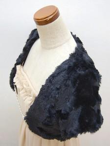 ボレロ221 ふわふわかわいいファーボレロ コーディネートしやすい半袖ボレロ パールチェーン付き 結婚式 パーティー 即納