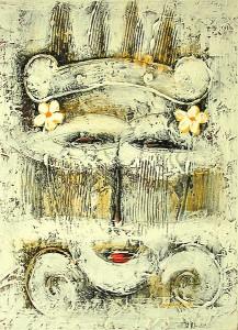 【送料無料】バリアート絵画 M 縦 抽象画 [40x30cm]アジアン雑貨 バリ雑貨 タイ雑貨 アジアンインテリア