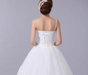 ウェディングドレス チュールワンピース花嫁エレガントプリンセス結婚式ブライダル披露宴ベアトップ二次会パーティー ロングAライン刺繍