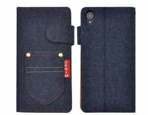 【XperiaZ4用(SO-03G/SOV31/402SO)】手帳型(横開き)ポケット付デニムデザインケース エクスペリアZ4用シンプル ジーンズ 保護ケース