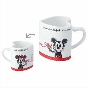 ◆ミッキー&ミニー ハートマグカップ2個セット(プレゼント、贈り物、お土産,キャラクターグッツ通販、アニメキャラ(P21)