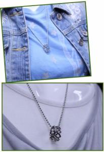 【送料無料★1,000円】すかしリングネックレス アクセサリー メンズ レディース