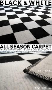 カーペット 2畳 チェック 白黒 『モナコ』 ホットカーペット対応 176×176cm 国産