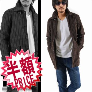 【送料無料】【Place plan】ベロアストライプシングルトレンチ☆ブラウン(型番MBL-5115)メンズ アウター