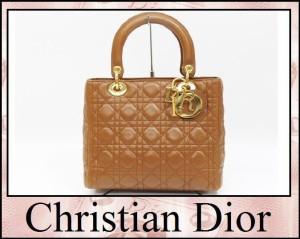 あす着 Christian Dior クリスチャンディオール ラムスキン レディディオール ハンドバッグ レザー ブラウン レディース