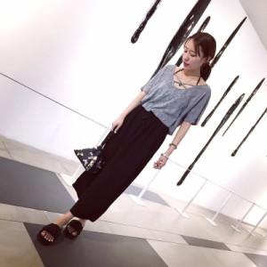 レディスファッション胸元のクロスデザインがさりげ可愛い半袖Tシャツ♪半袖/トップス/tシャツ/カットソー/レディース