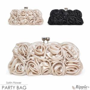 パーティーバッグ サテンフラワー3Wayパーティーバッグ 結婚式 大きめ バッグ パーティバッグ クラッチバッグ  1762