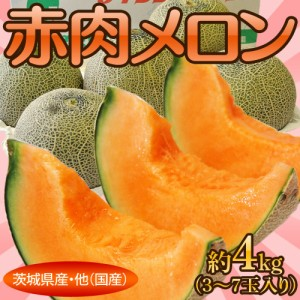 《送料無料》茨城県産・他『赤肉メロン』3〜7玉 約4kg ○