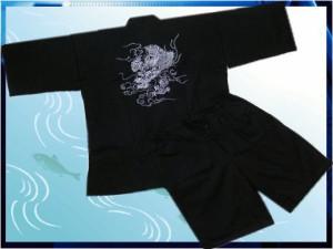 夏祭&普段着に 粋なメンズ男性甚平じんべい黒地刺繍龍M・L・LL