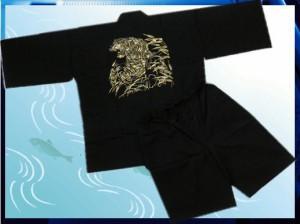 夏祭&普段着に 粋なメンズ男物男性甚平じんべい黒地刺繍虎M・L・LL