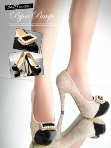 SALE [12cmヒール]輝く大きなブローチ付高級ブランド風ツイード×エナメル異素材MIXビジューパンプス/靴 XSSMLLL