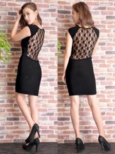 b6a47c9782d6d 送料無料 ドレス キャバ ワンピース 背中透けレースバンテージノースリーブタイトミニドレス dazzy couture  キャバドレス