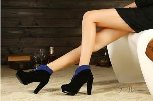 即納 2色使いシックなショートブーツ/ショート/厚底/編み上げ/ピンヒール/秋冬/レディース/春靴/大きいサイズ