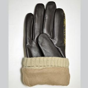 和柄手袋メンズ 本革シープスキンレザー羊革グローブ 暖かい防寒冬自転車バイク 竜図麻紋様刺繍 おしゃれやわらか手になじむフリーサイズ