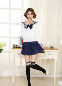 セーラー服紺リボン長袖 カラフルセーラーコスプレ コスチューム 制服 長袖バージョン M〜XLサイズ